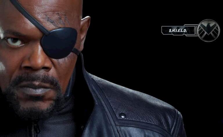Samuel L. Jackson con un parche en el ojo en la película de Capitán América