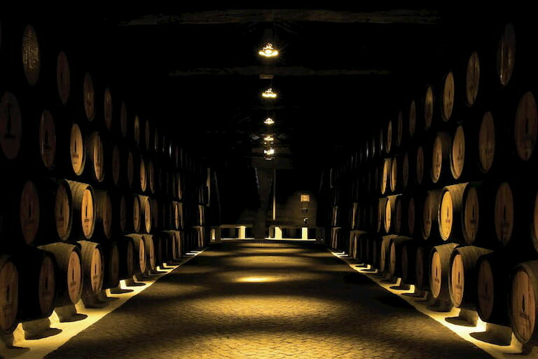 Barriles de vino en una bodega de Oporto