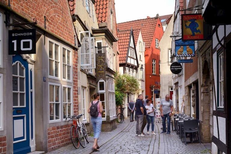 Las calles del casco medieval de Bremen