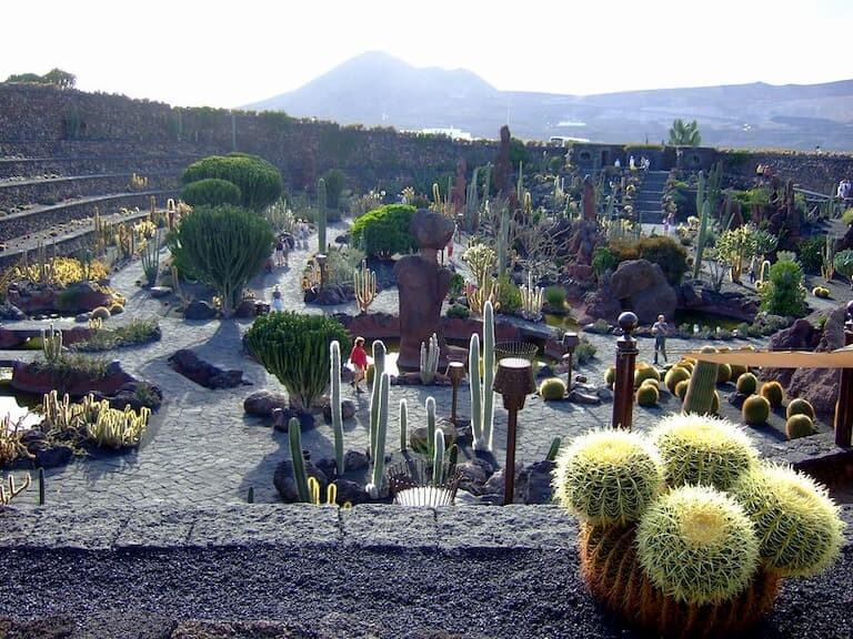 Vistas desde la terraza del Jardín de Cactus con el volcán de fondo