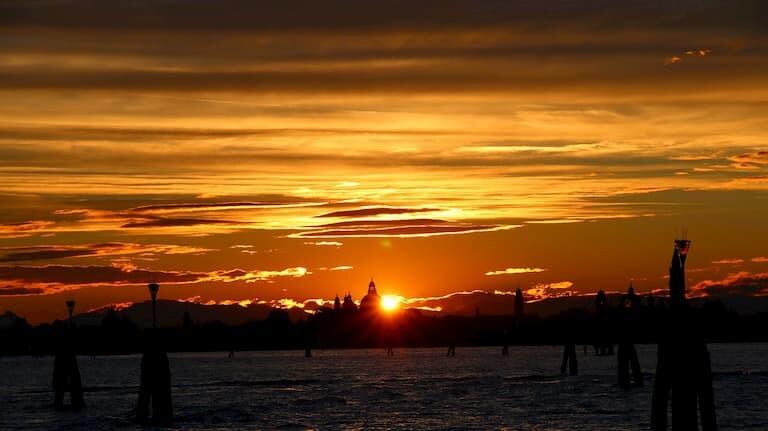 Puesta de sol el la isla de Lido