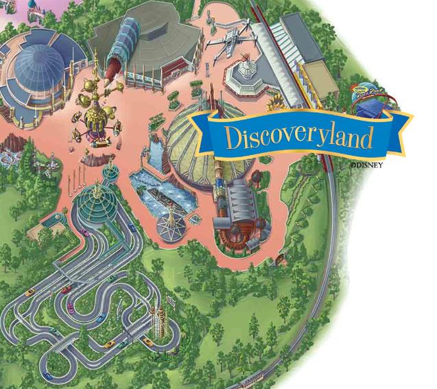 Mapa de Discoveryland en Disneyland París.