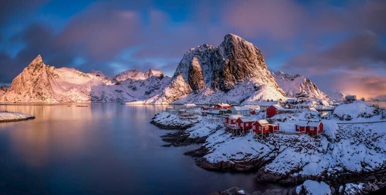 Las islas Lofoten nevadas
