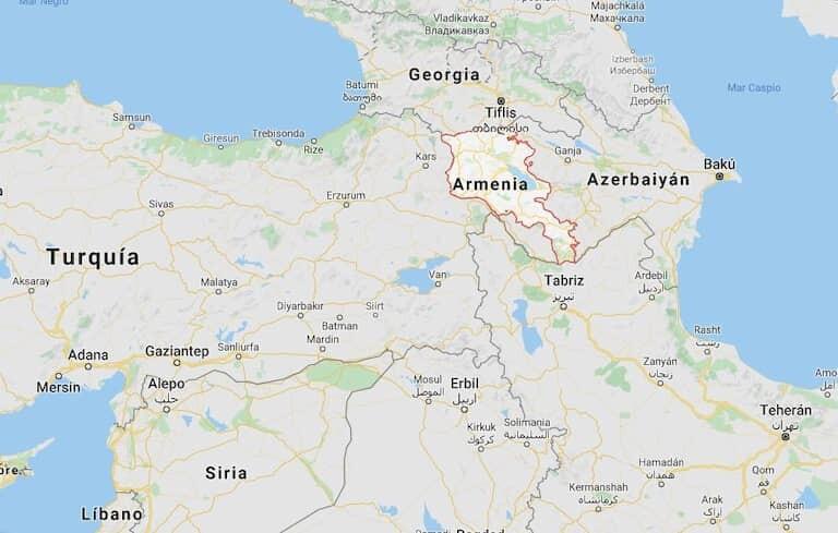 Mapa con la localización de Armenia