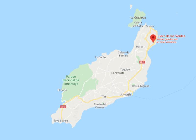 Mapa de la Cueva de los Verdes