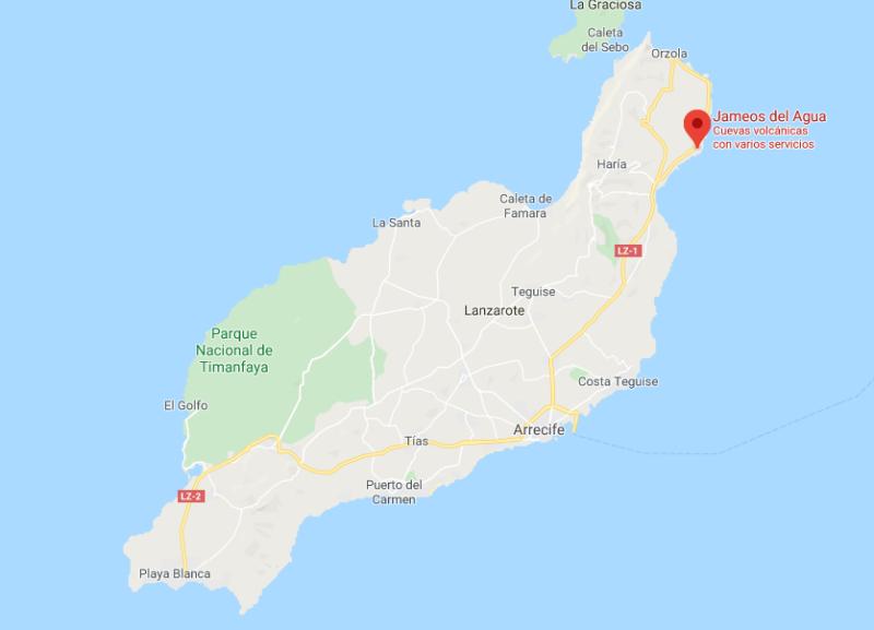 Mapa de los Jameos del Agua en Lanzarote