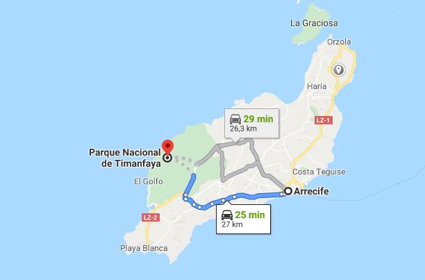 Mapa Timanfaya cómo llegar