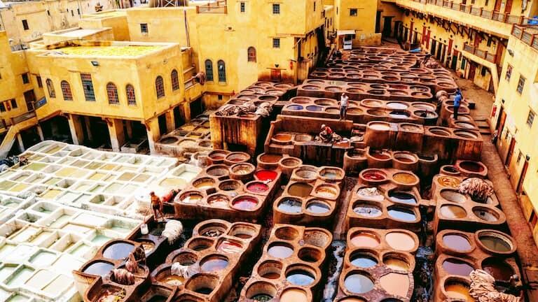 El zoco de los tintoreros de Fez