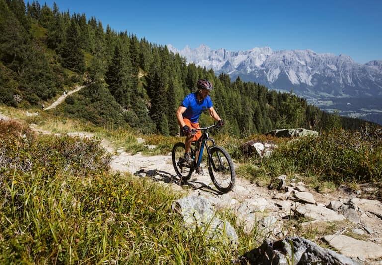 Chico en bicicleta de montaña por los Alpes