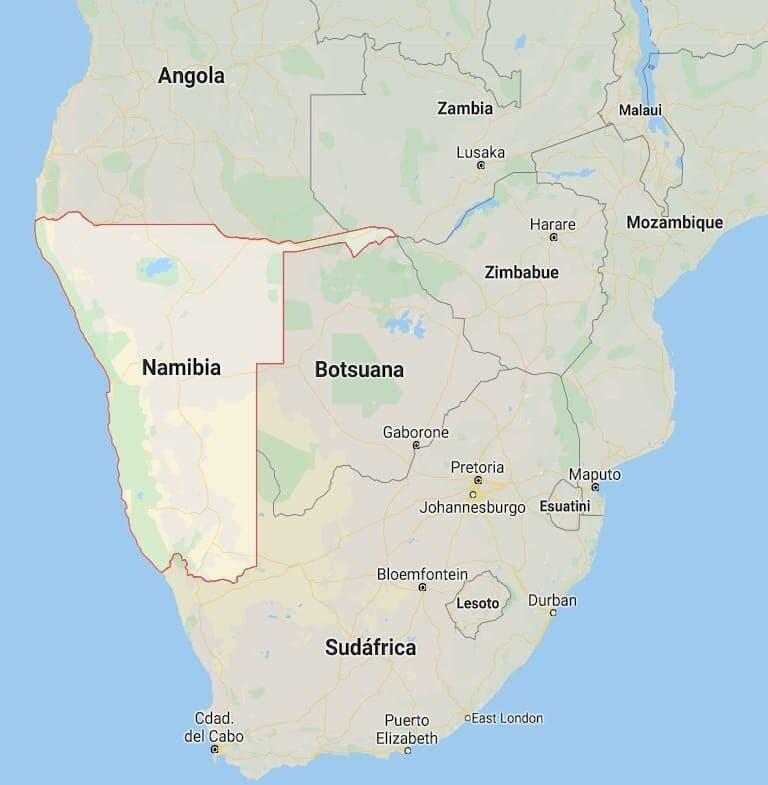 Localización de Namibia en el mapa