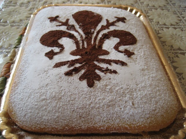 Pastel rectangular de la Toscana con el dibujo de la flor de Lis
