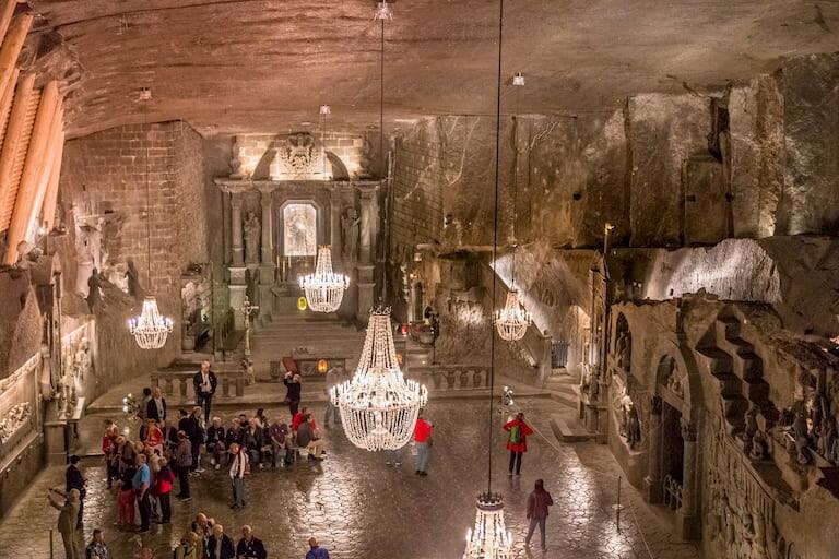 El interior de las  Minas de Sal de Wieliczka