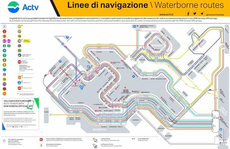 Mapa de líneas y paradas de vaporetto.