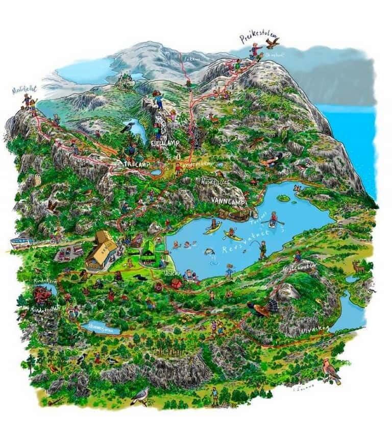 Mapa del Púlpito en Noruega